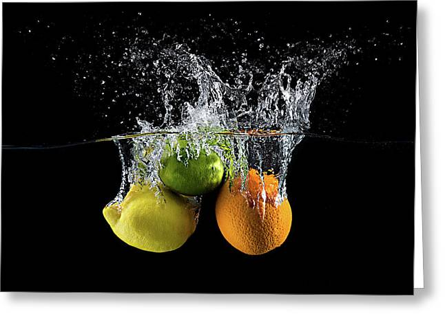Citrus Splash Greeting Card by Mogyorosi Stefan