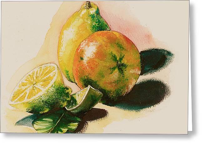 Citrus Under The Sun Light Greeting Card
