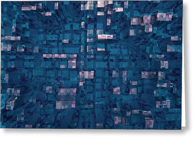 Greeting Card featuring the digital art City Abstract by Matt Lindley