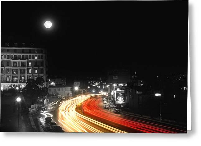 City And The Moon Greeting Card by Taylan Apukovska