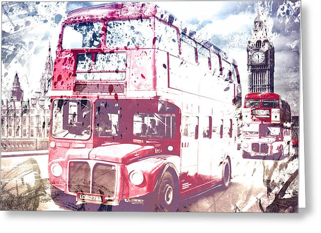 City-art London Red Buses On Westminster Bridge Greeting Card