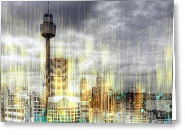 City-art Sydney Rainfall Greeting Card by Melanie Viola