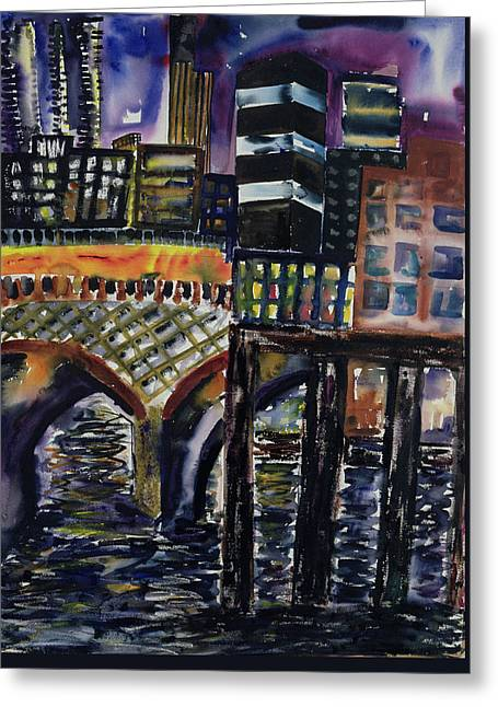 City At Night Greeting Card by Hilary Rosen
