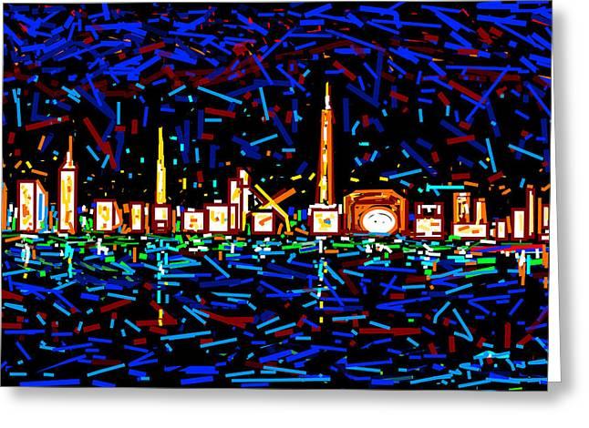 City At Night-2 Greeting Card by Anand Swaroop Manchiraju