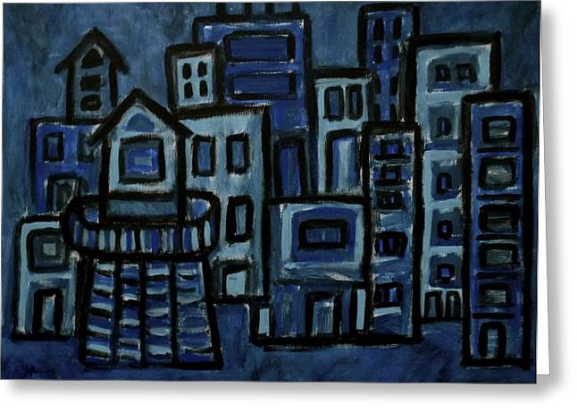 City At Night Greeting Card by Jeff Gater
