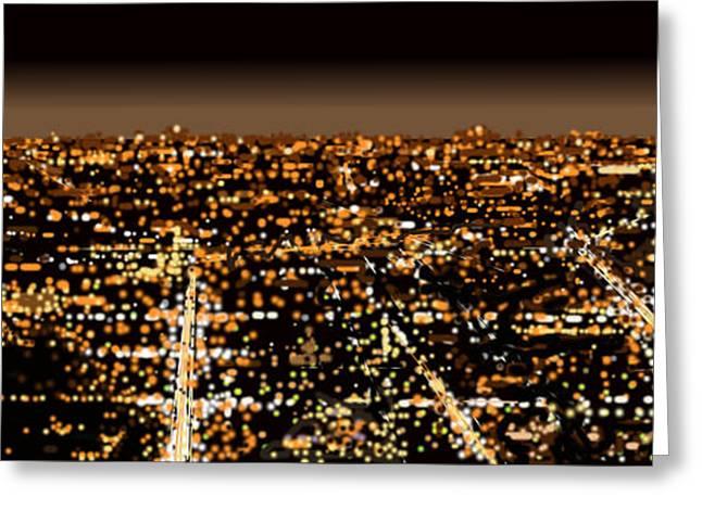 City At Night Greeting Card by Shabnam Nassir