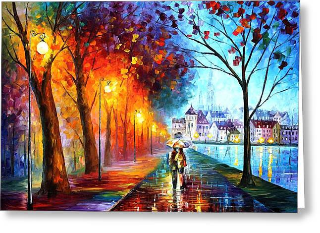 City By The Lake - Palette Knife Oil Painting On Canvas By Leonid Afremov Greeting Card by Leonid Afremov