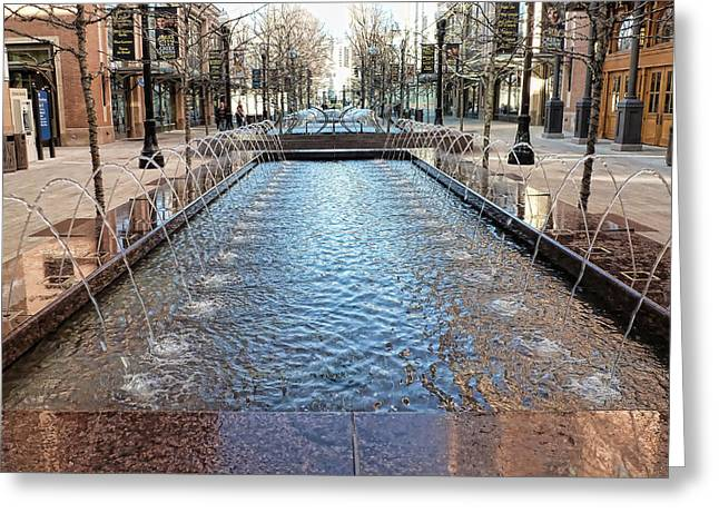 City Creek Fountain - 1 Greeting Card by Ely Arsha