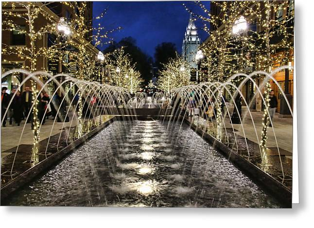City Creek Fountain - 2 Greeting Card by Ely Arsha