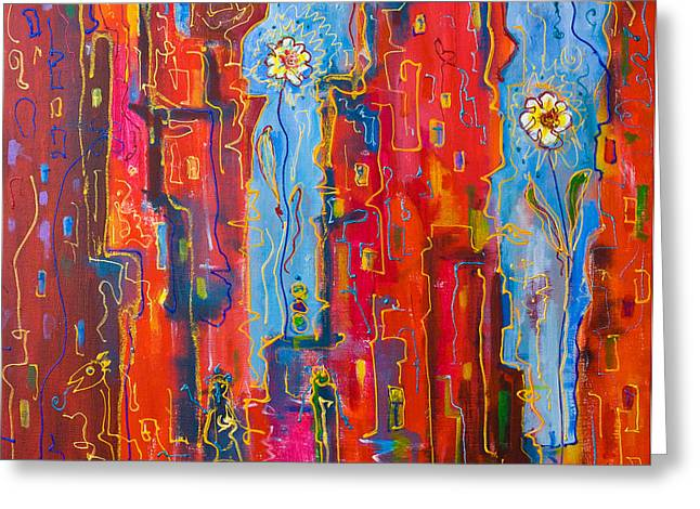 City Flowers Greeting Card