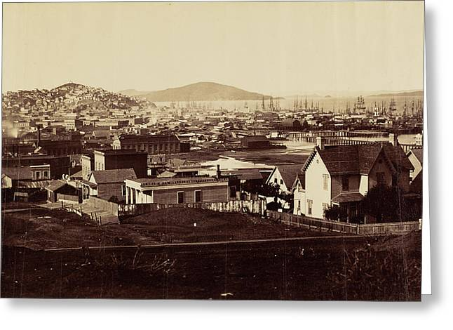 City Front From Rincon Hill In 1860 Carleton Watkins Greeting Card