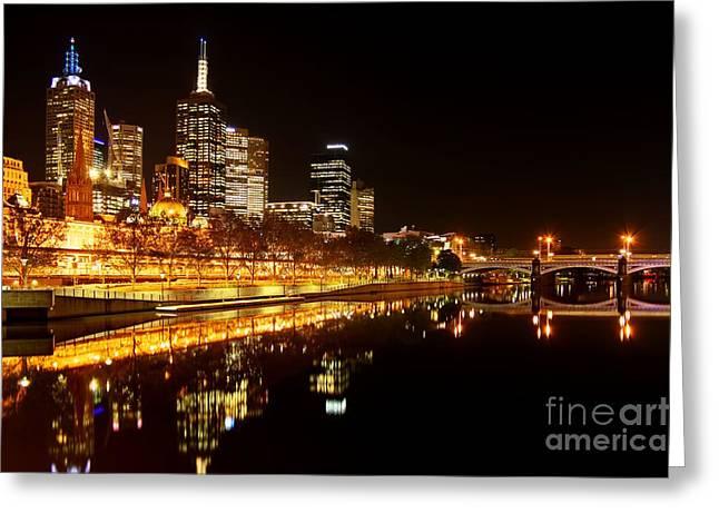 City Glow Greeting Card by Andrew Paranavitana