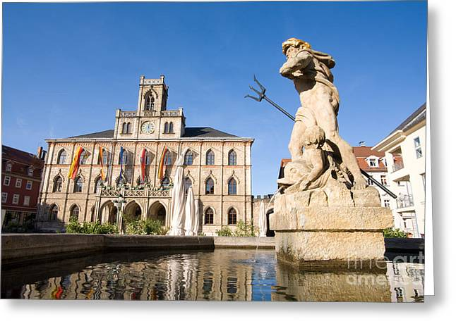 City Hall And Neptune Fountain, Weimar Greeting Card