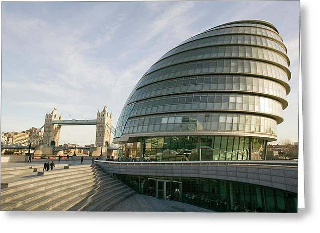 City Hall And Tower Bridge Greeting Card by Ashley Cooper