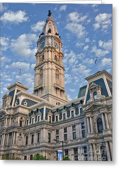 City Hall Clock Tower Downtown Phila Pa Greeting Card by David Zanzinger
