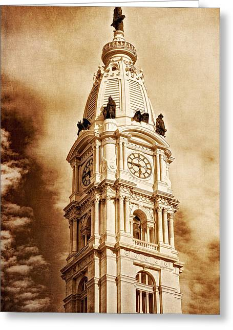 Tower Of City Hall - Downtown Philadelphia - One Penn Square Greeting Card by Photography  By Sai