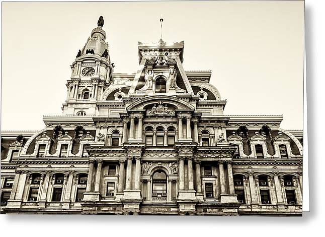 City Hall Facade - Philadelphia - Sepia Greeting Card by Bill Cannon