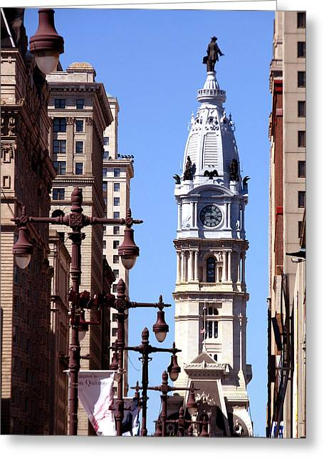 Greeting Card featuring the photograph Philadelphia City Hall From Broad St by Christopher Woods