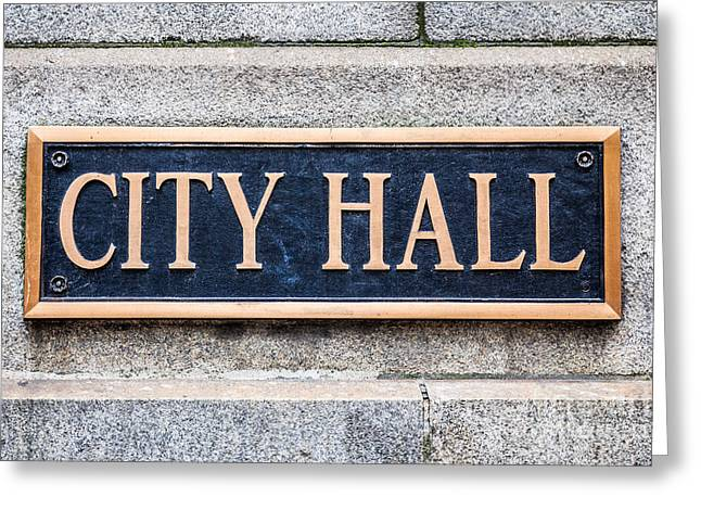 City Hall Municipal Sign In Chicago Greeting Card