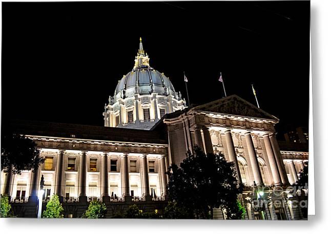 City Hall San Francisco At Night Greeting Card by Jim Fitzpatrick