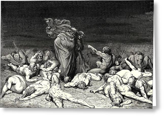 City Heaped With Envy From Dantes Inferno Greeting Card