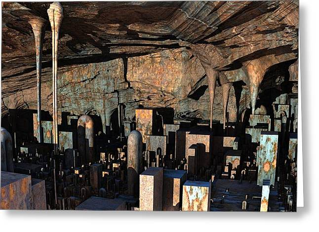 City In A Cavern Greeting Card