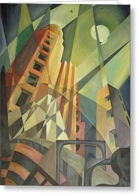 City In Shards Of Light Oil On Canvas Greeting Card