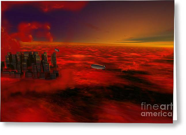 City In The Sky Greeting Card by John Kreiter