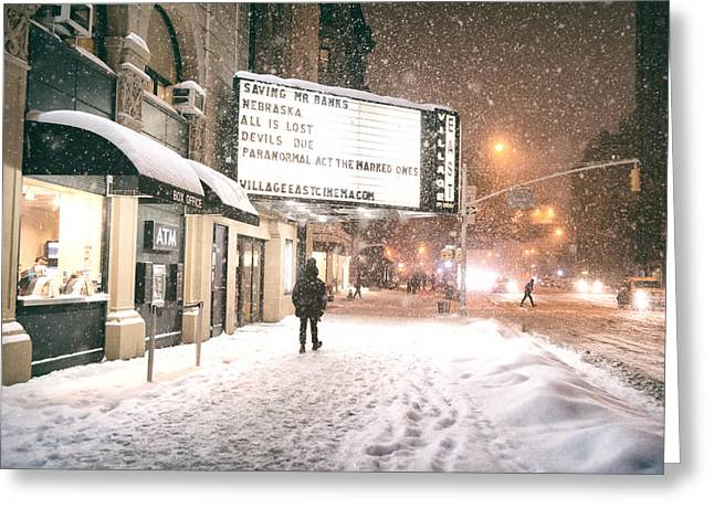 City Lights And Snow At Night - New York City Greeting Card by Vivienne Gucwa