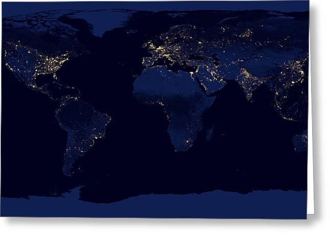 City Lights - Earth Greeting Card
