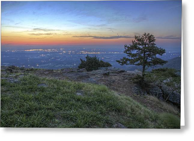 City Lights From Sunrise Point At Mt. Nebo - Arkansas Greeting Card