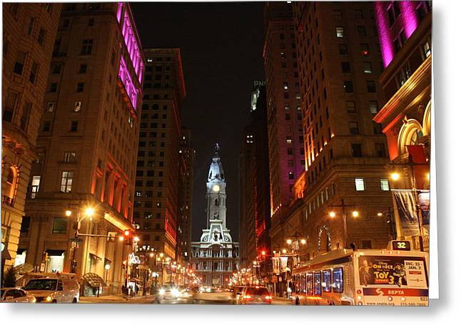 Philadelphia City Lights Greeting Card