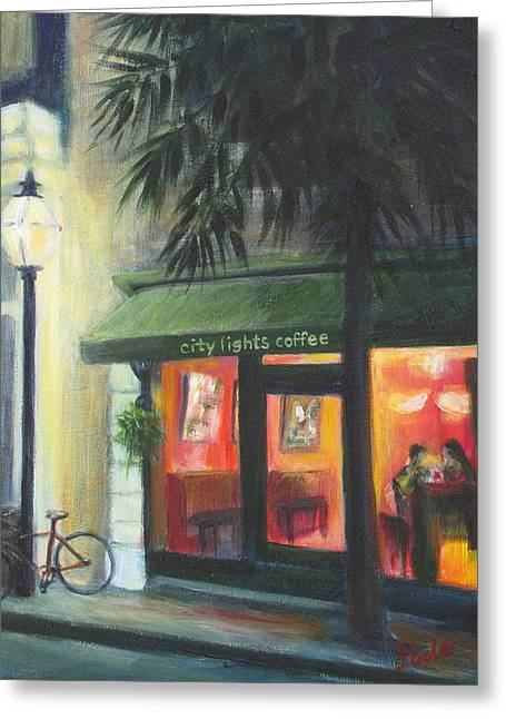 City Lights On Market St. Greeting Card