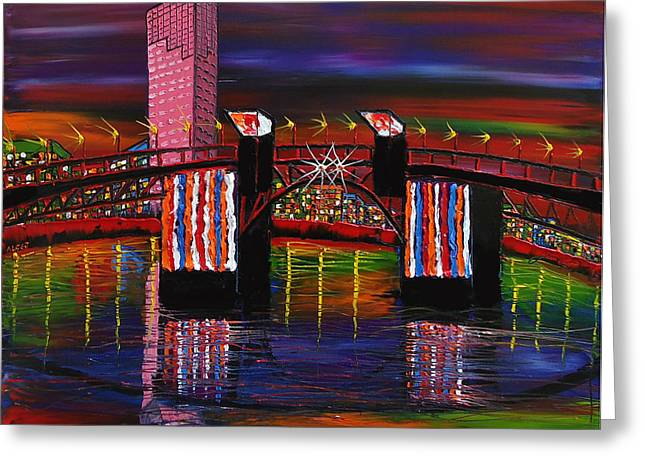 City Lights Over Morrison Bridge 8 Greeting Card by Portland Art Creations