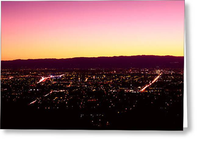 City Lit Up At Dusk, Silicon Valley Greeting Card