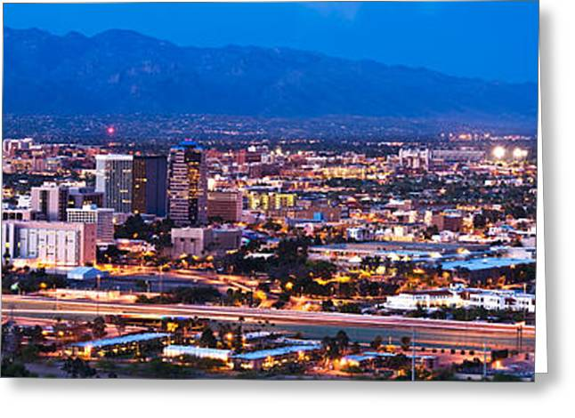 City Lit Up At Dusk, Tucson, Pima Greeting Card by Panoramic Images