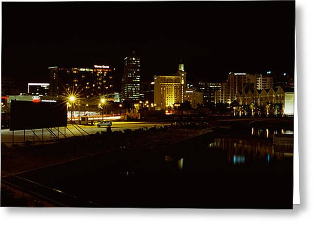 City Lit Up At Night, Cape Town Greeting Card by Panoramic Images