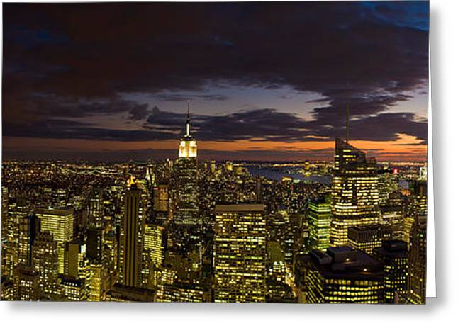 City Lit Up At Night From Rockefeller Greeting Card by Panoramic Images