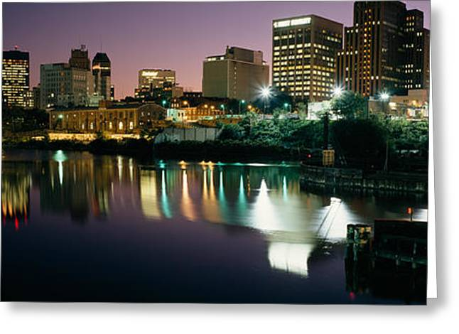 City Lit Up At Night, Newark, New Greeting Card by Panoramic Images