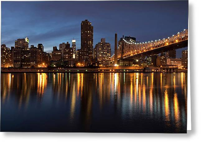 City Lit Up At Night, Queensboro Greeting Card