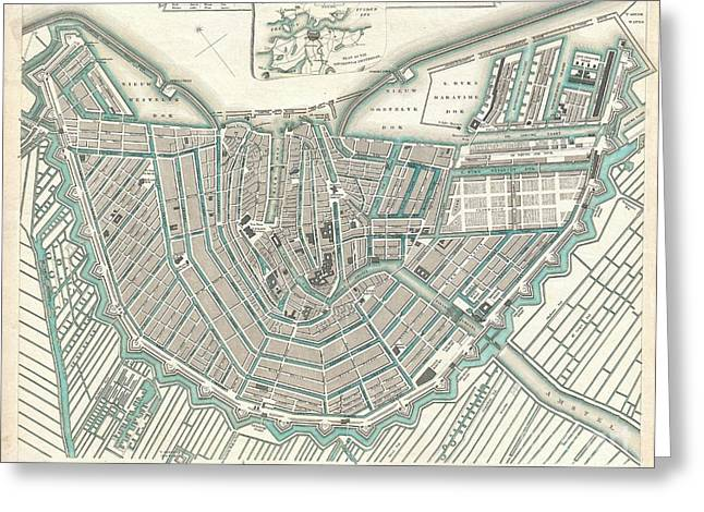 City Map Or Plan Of Amsterdam Greeting Card by Paul Fearn