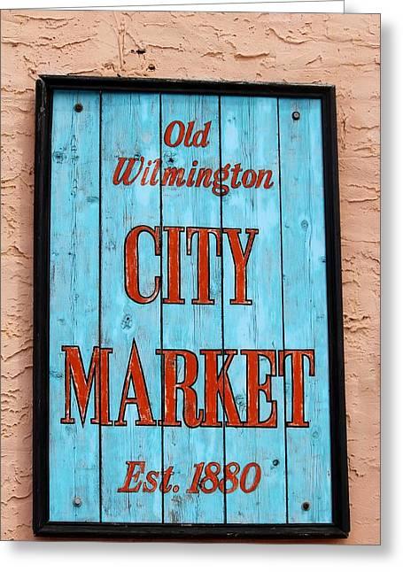 City Market Sign Greeting Card by Cynthia Guinn