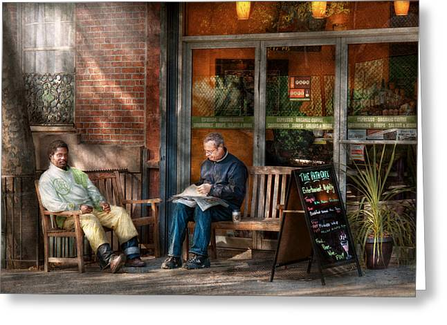 City - New York - Greenwich Village - The Path Cafe  Greeting Card by Mike Savad