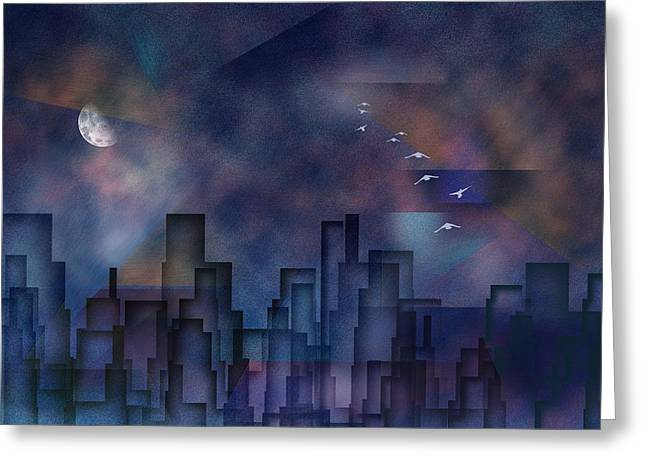City Night Greeting Card by Bruce Rolff