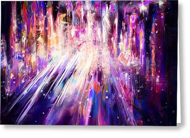 City Nights City Lights Greeting Card by Rachel Christine Nowicki