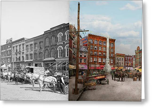 City - Norfolk Va - Hardware And Liquor - 1905 - Side By Side Greeting Card by Mike Savad