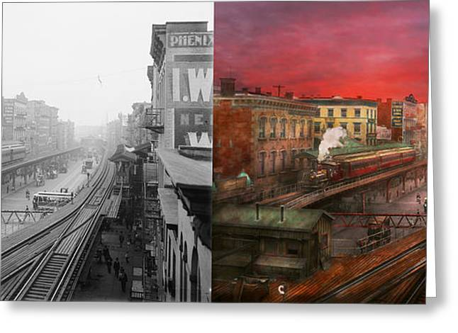 City - Ny - Rush Hour Traffic - 1900 - Side By Side Greeting Card by Mike Savad