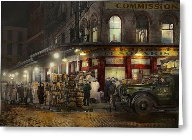 City - Ny - Washington Street Market Buying At Night - 1952 Greeting Card
