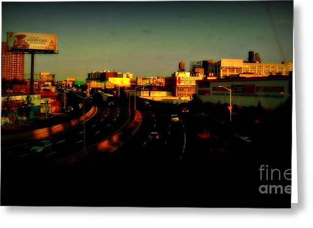 City Of Gold - New York City Sunset With Water Towers Greeting Card by Miriam Danar