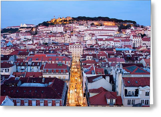 City Of Lisbon At Dusk In Portugal Greeting Card